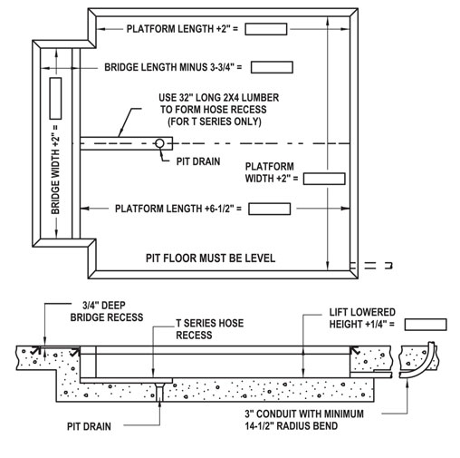 Pit Diagrams For Recessed Dock Lifts |