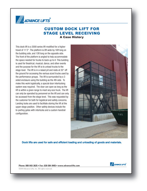 Custom High Travel Dock Lift Case Study